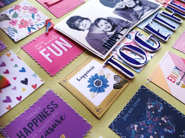 ScrapBolt scrapbook oldal részlete Paige Evans Whimsical kollekció kártyáiból